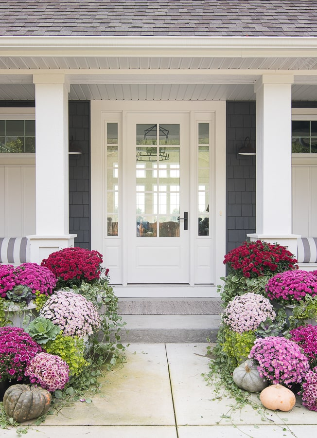 burgundy and pink fall front porch decor
