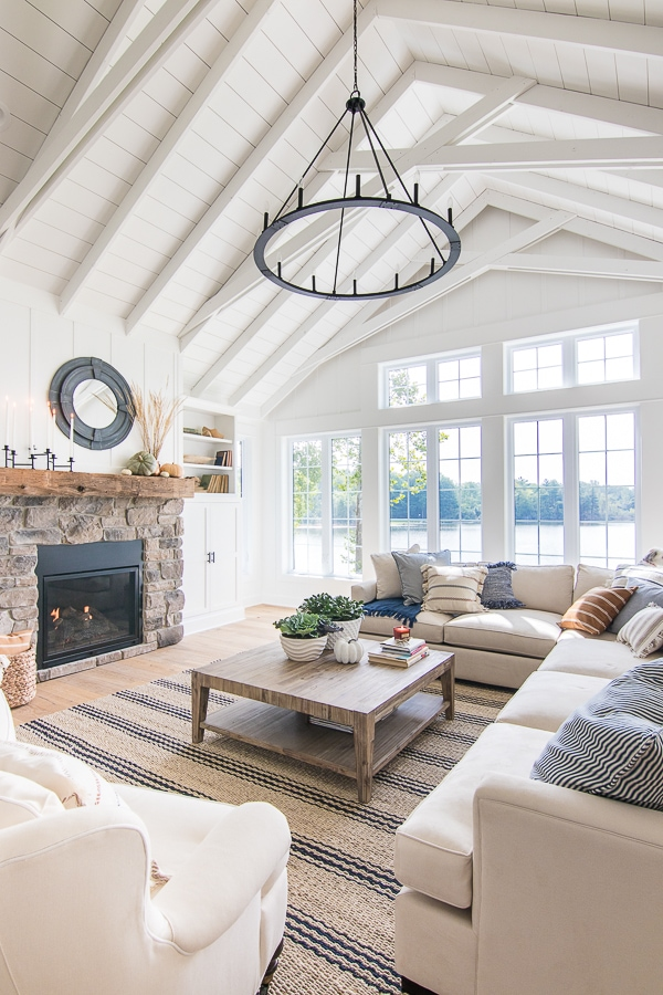Navy and white fall living room home decor