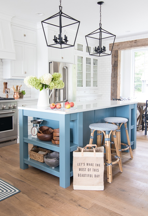 blue and white lake house kitchen