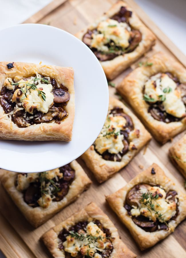 caramelized onion balsamic goat cheese mushroom tarts
