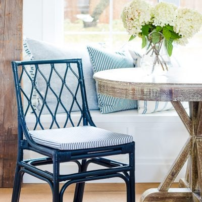 Navy Ticking Breakfast Nook Chairs