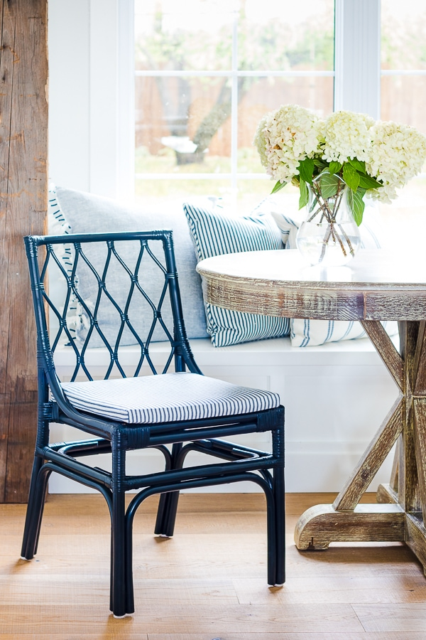 navy ticking fabric covered dining chairs