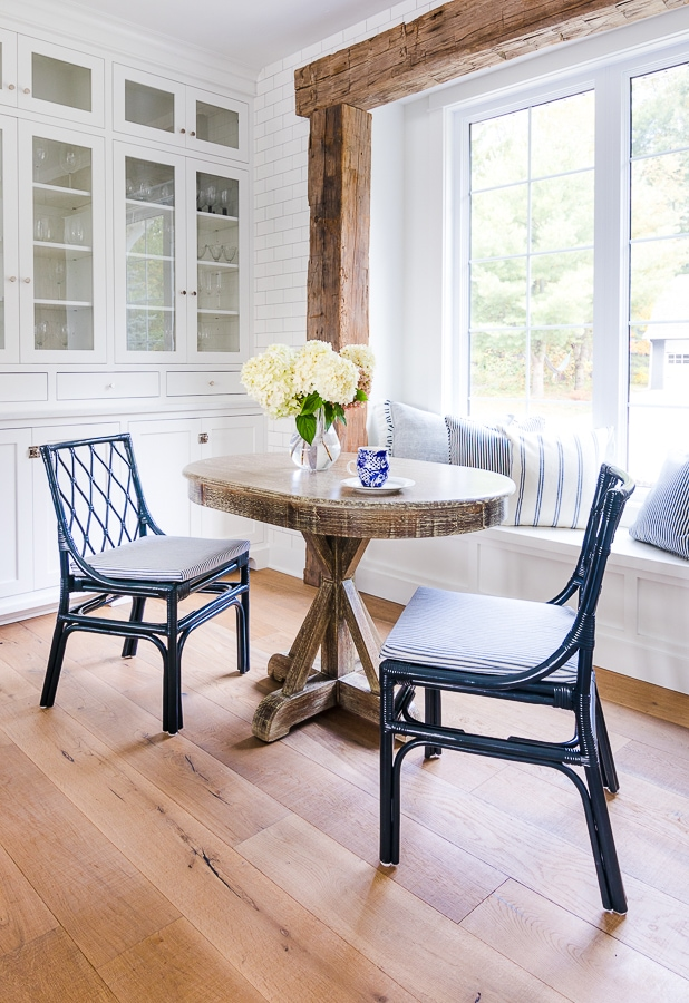 navy ticking fabric breakfast nook chairs