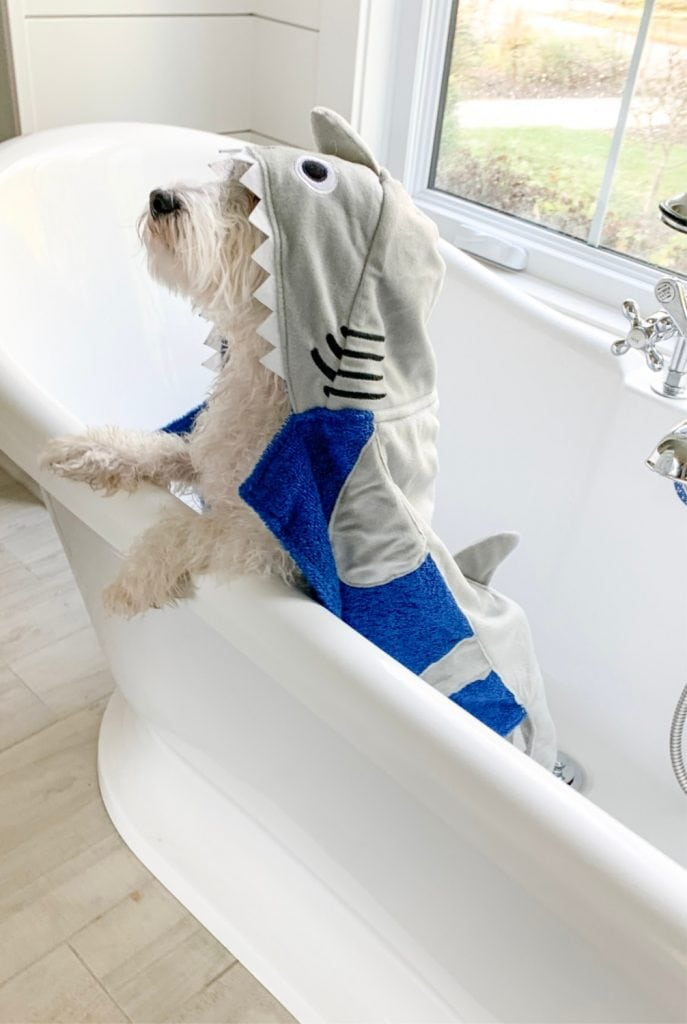 hooded dog shark towel