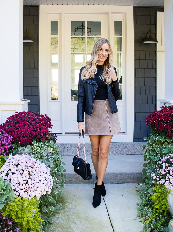 Suede skirt black turtleneck fall outfit