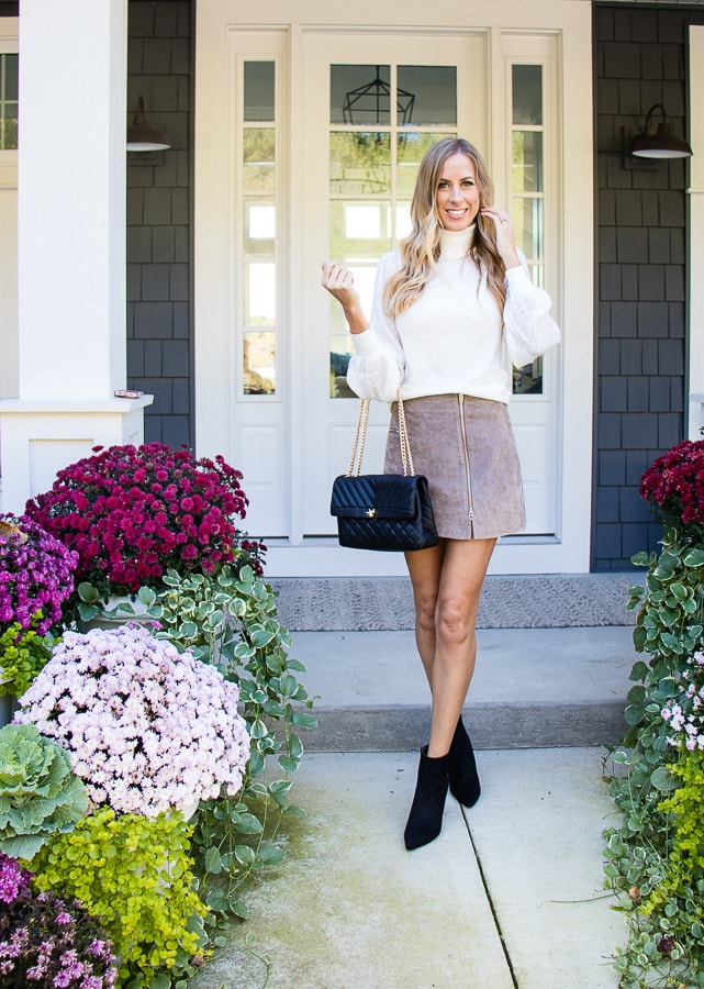 Suede skirt white turtleneck blouse