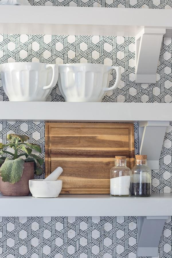 Butler's pantry wallpaper open shelves
