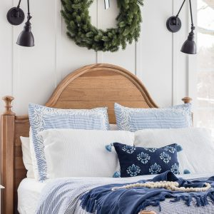 Blue and White Christmas Bedroom Decor