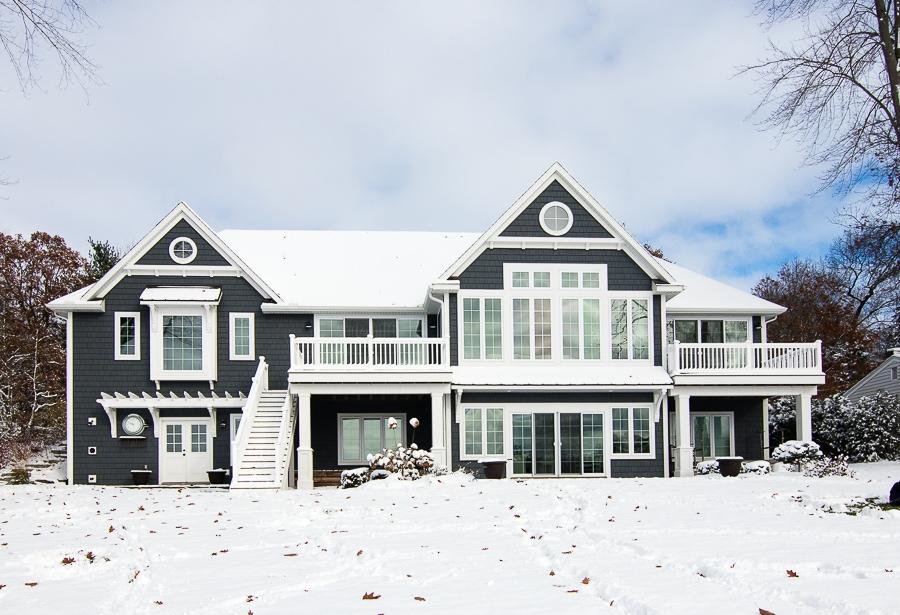 Dark grey lake house