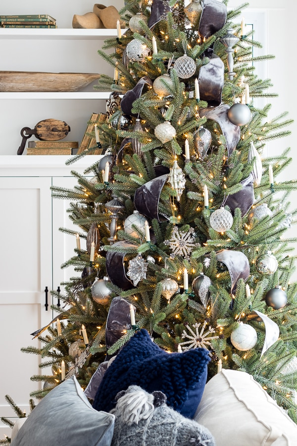 Silver and grey classic christmas tree