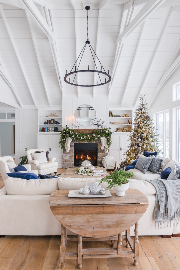 Silver and Grey Christmas living room decor