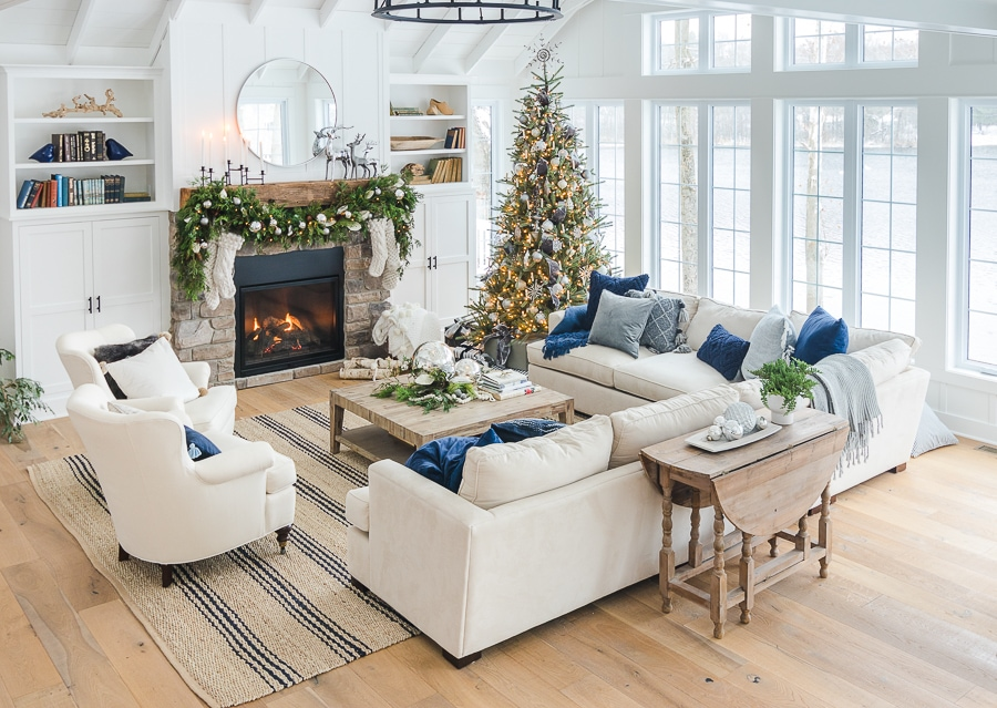 silver and grey Christmas family room decor