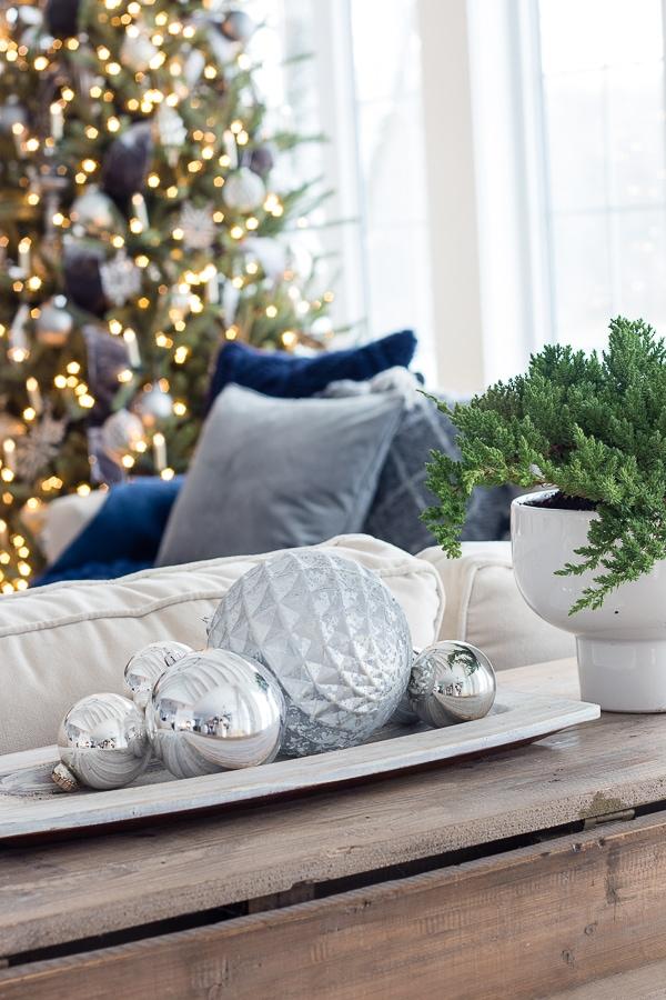 silver ornaments Christmas decor