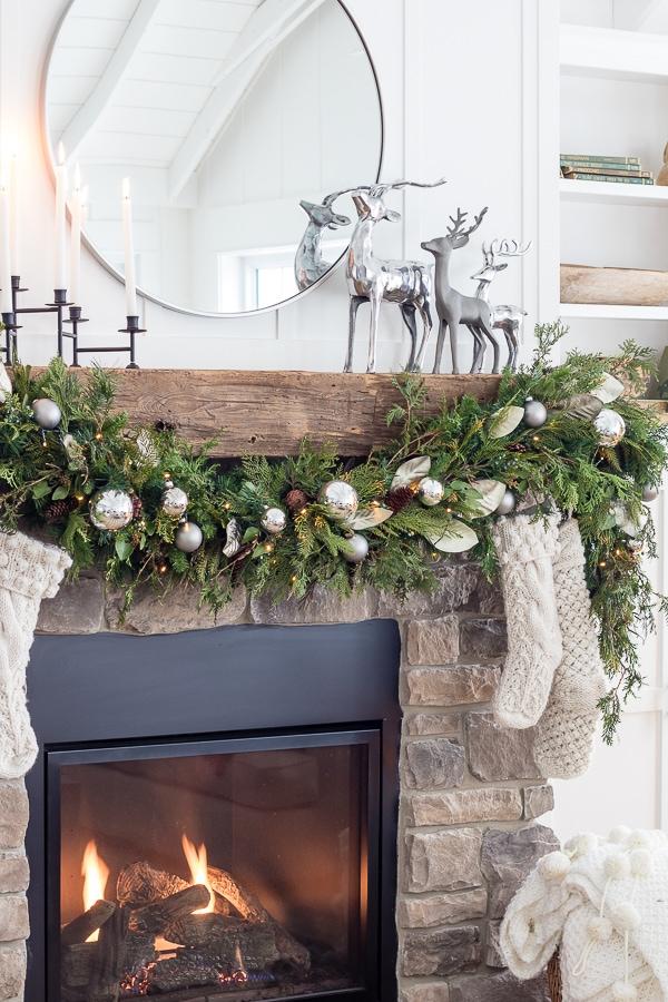 Silver Reindeer Christmas rustic fireplace mantel