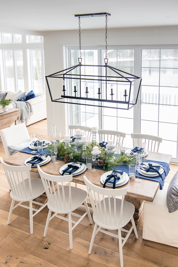 Silver and navy christmas table setting