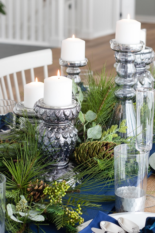 glass candlesticks dinner table