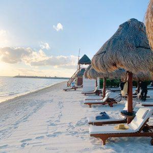 Playa Mujeres beach chair overlooking ocean in Mexico