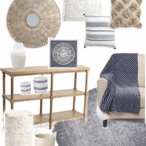 blue white budget living room design ideas
