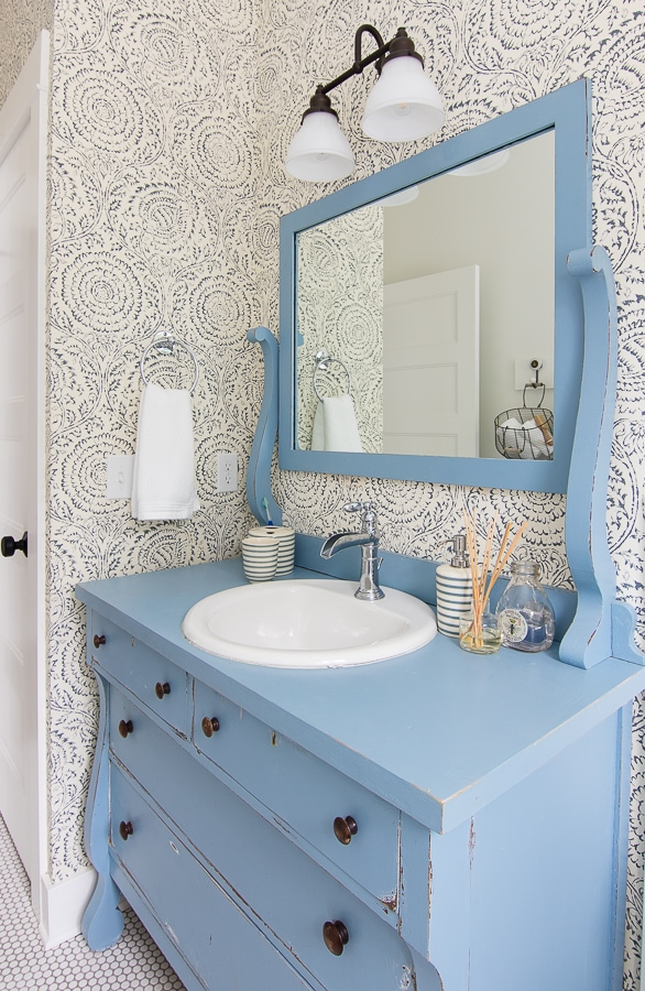 blue white floral wallpaper blue kids bathroom vanity