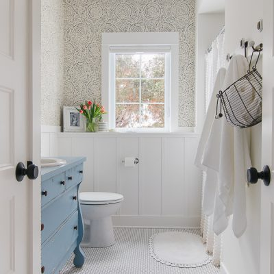 Blue and White Bathroom Design
