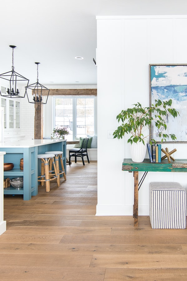 green and blue rustic beam breakfast nook