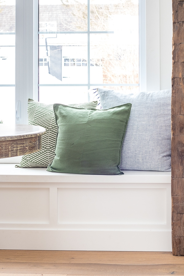 green and blue breakfast nook pillows
