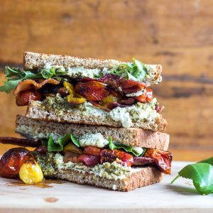 Roasted Tomato Pesto Goat Cheese BLT sandwich