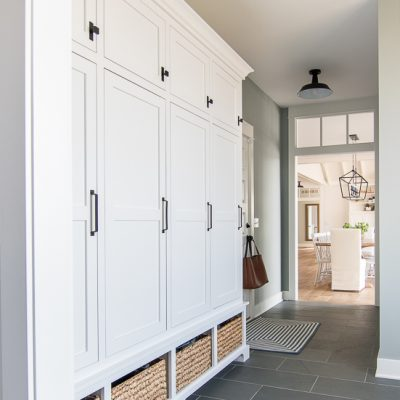 Grey and Blue Mudroom