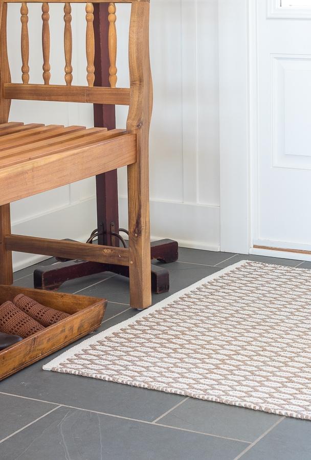neutral entryway rug