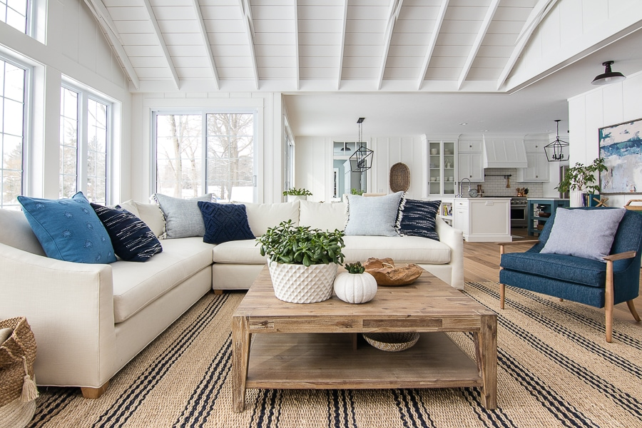 White Sectional Sofa and Navy Accent Chairs - The Lilypad Cottage