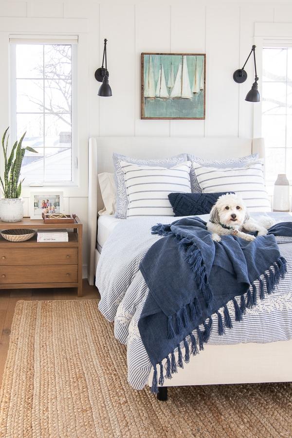 lake house master bedroom white bed blue bedding