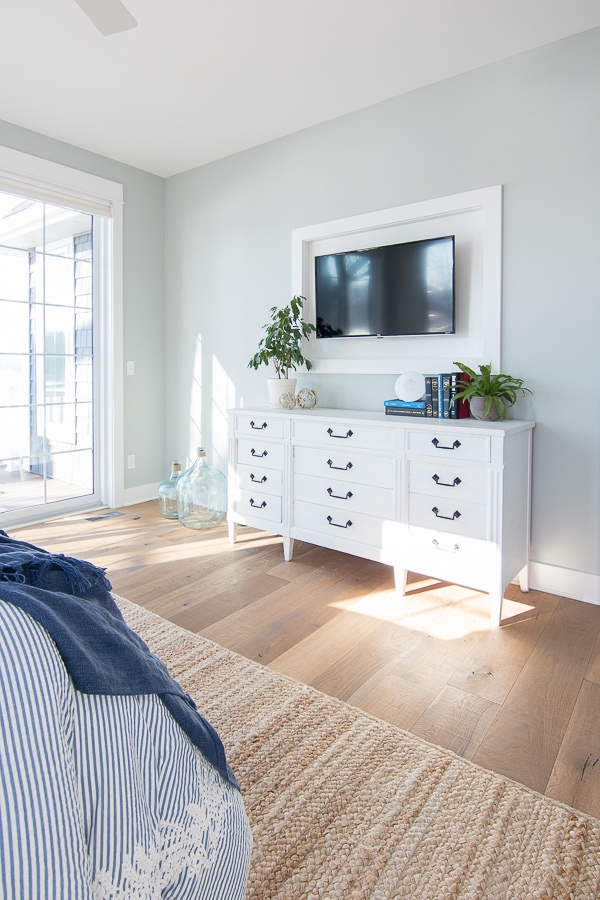 white dresser framed tv