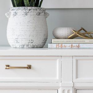dresser makeover modern brass hardware