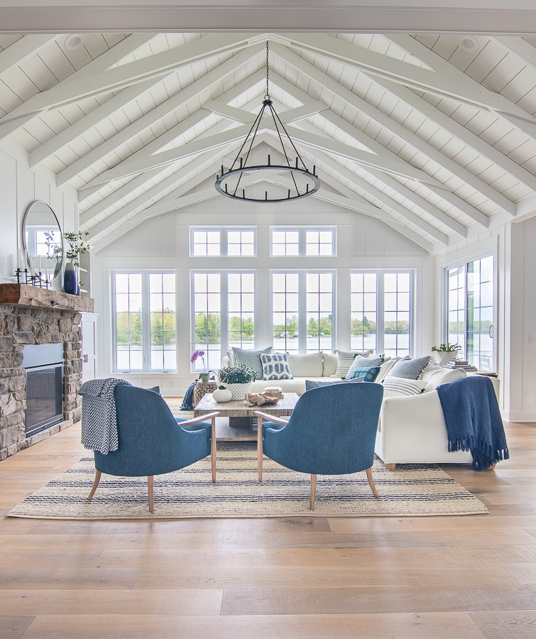 blue and white lake house living room