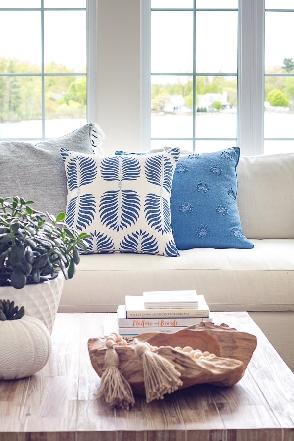 blue and white serena and lily throw pillows