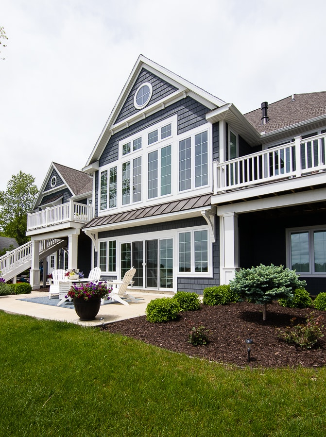 dark gray and white lake house exterior