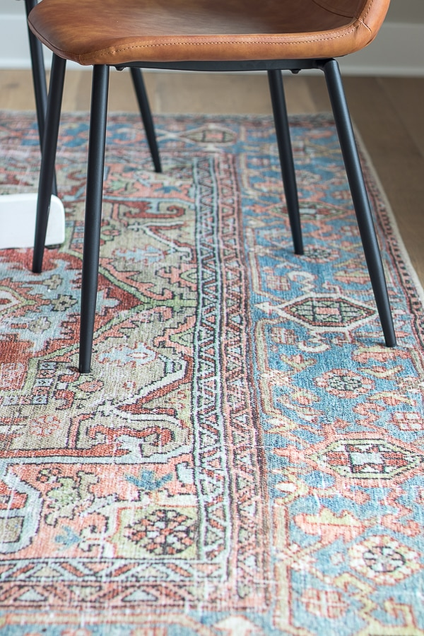 vintage blue and rust rug