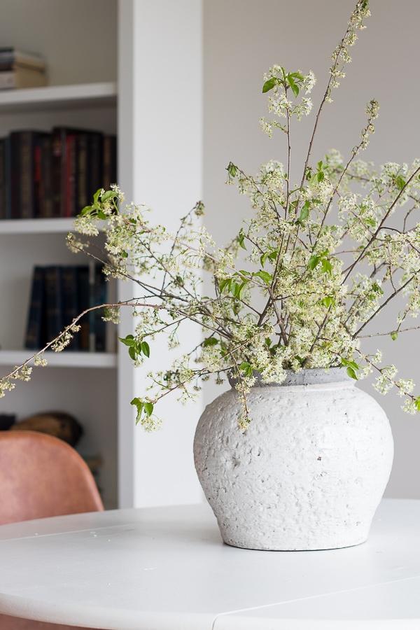 white oversized stoneware vase