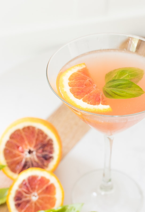 Blood Orange Elderflower Basil Martini