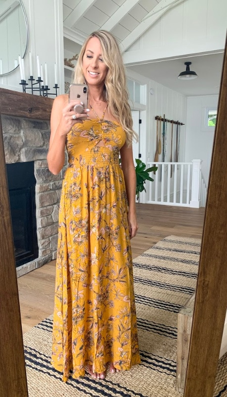 yellow floral maxi dress summer