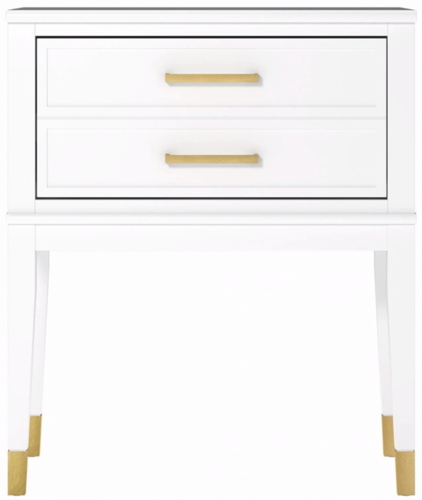 white and brass nightstand