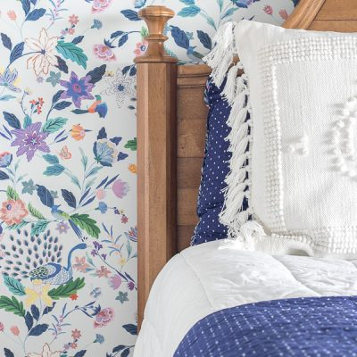 Tween Girl Floral Wallpaper Bedroom Progress