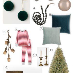 Green Velvet and Metallic Christmas decor