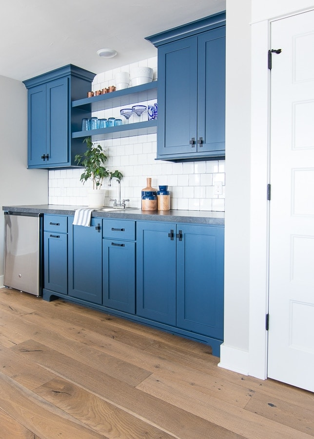 blue wet bar basement cabinets