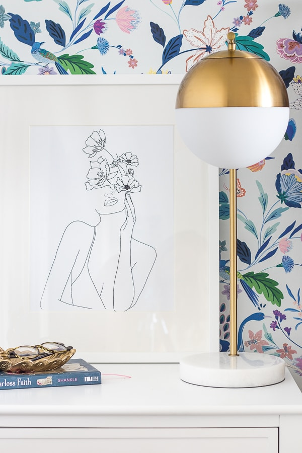 floral line drawing art brass lamp teen bedroom