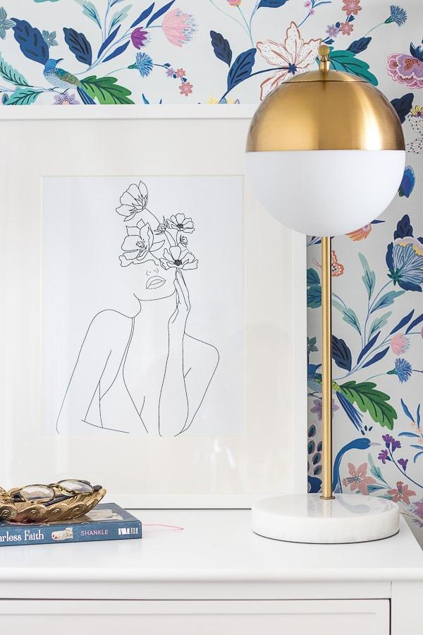 floral line drawing art brass lamp teen bedroom