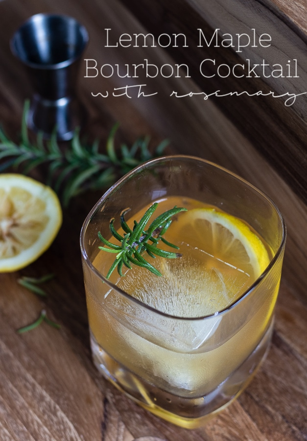 lemon maple bourbon cocktail with rosemary