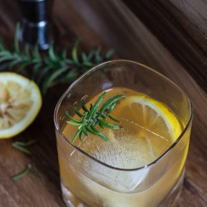 lemon maple rosemary bourbon cocktail