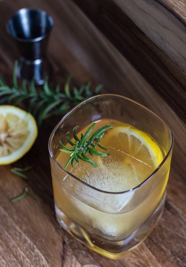 lemon maple rosemary bourbon cocktail