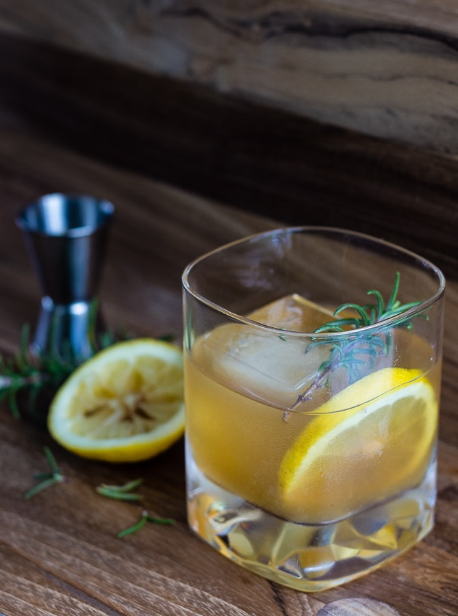 lemon maple bourbon cocktail